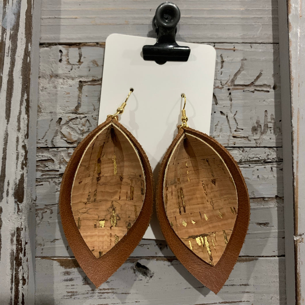 Brown and Cork Double Petal Leather Earrings