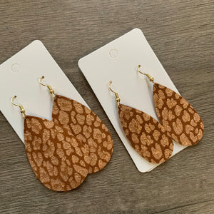 Brown and Rose Gold Leopard Teardrop Earrings