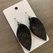 Charcoal Shimmer Leather Teardrop & Small Petal Earrings
