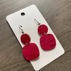 Raspberry Mini Drop Cork Leather Earrings