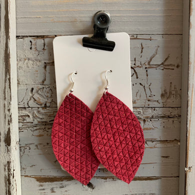 Raspberry Textured Leaf Leather Earrings