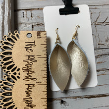 Light Gold Skinny Petal Leather Earrings