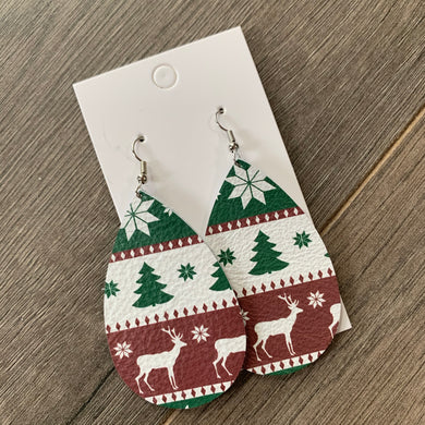 Christmas Sweater Teardrop Leather Earrings