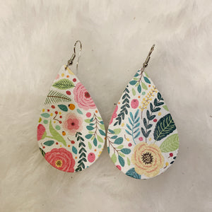 White Fun Floral Teardrop Leather Earrings