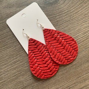Red Braided Teardrop Leather Earrings