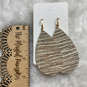 Rose Gold Shimmer Teardrop Leather Earrings