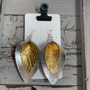 Silver and Gold Double Petal Leather Earrings