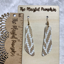 Gold Chevron Skinny Oblong Leather Earrings