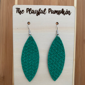 Kelly Green Textured Skinny Leaf Leather Earrings