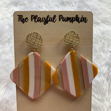 Gold Post Stud Pink Yellow Acrylic Earrings