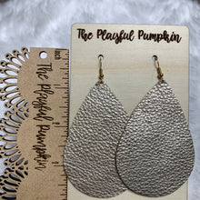 Light Gold Large Teardrop Leather Earrings