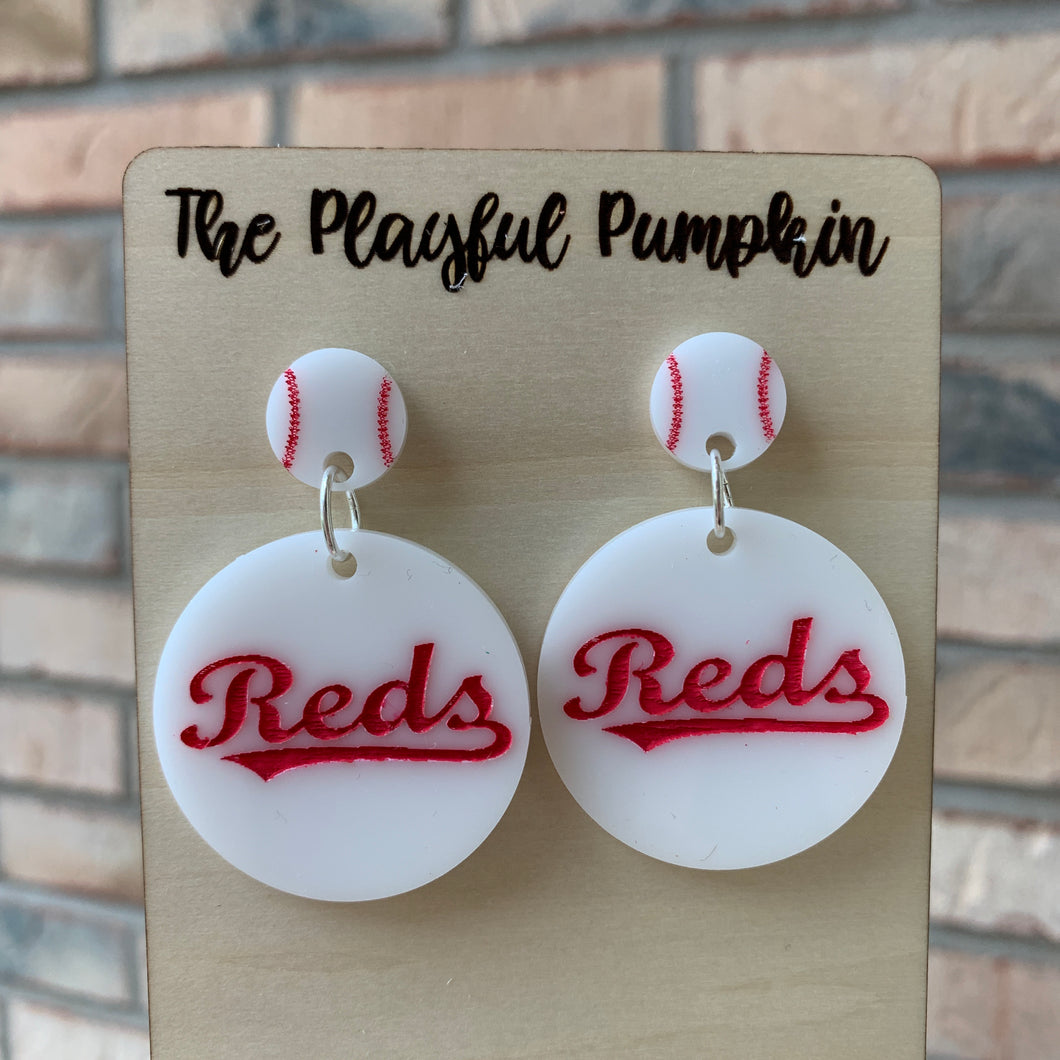 Cincy Reds Baseball Acrylic Earrings