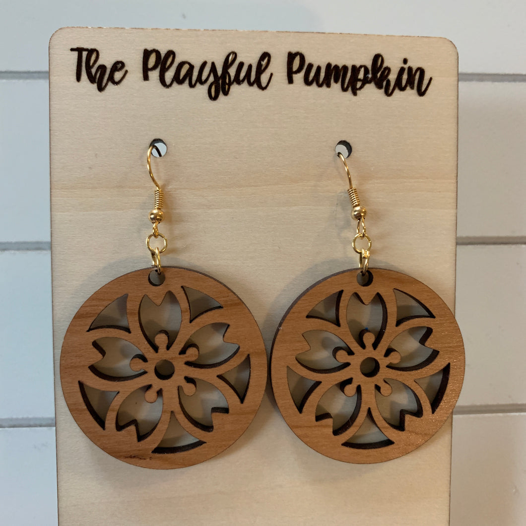 Wood Flower Earrings