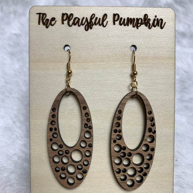 Bubble Oval Wood Earrings