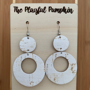 White leather backed Cork Open Hoop Earrings