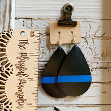 Thin Blue Line Police Support Teardrop Leather Earrings