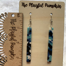 Acrylic Blue Mix Bar Earrings