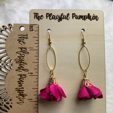 Fuchsia Fabric Flower Drop Earrings