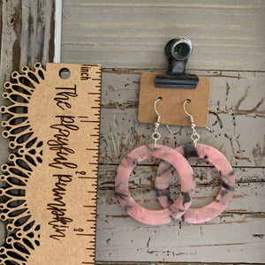 Pink and Black Swirl Circle Acrylic Earrings