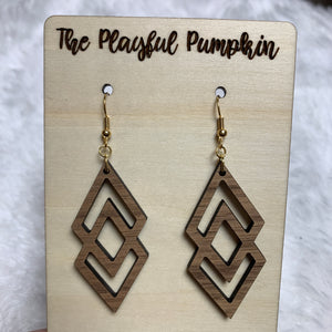 Double Diamond Wood Earrings