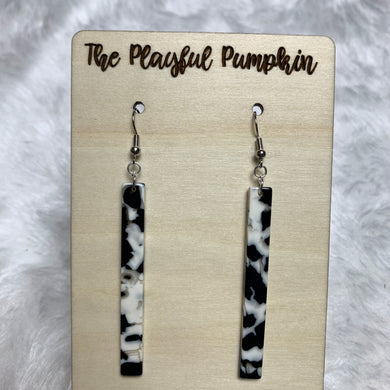 Black and White Acrylic Bar Earrings
