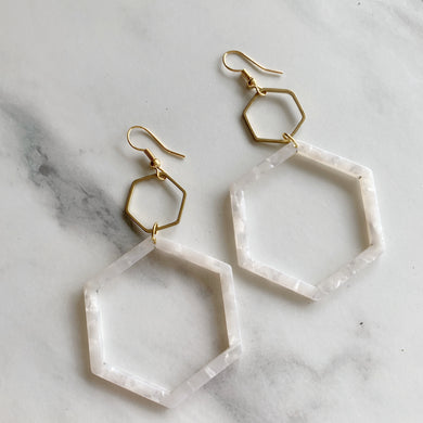 White Acrylic Hexi Drop Earrings