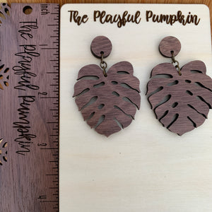 Solid Walnut Monstera Post Wood Earrings