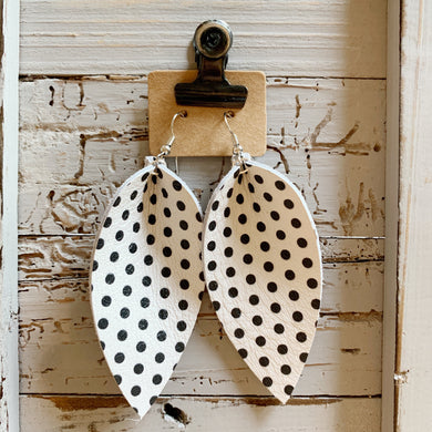 White and Black Polkadot Elongated Petal Leather Earrings