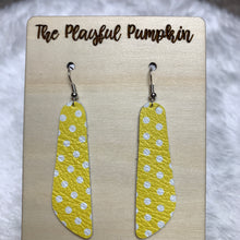 Yellow Polkadot Skinny Oblong Leather Earrings