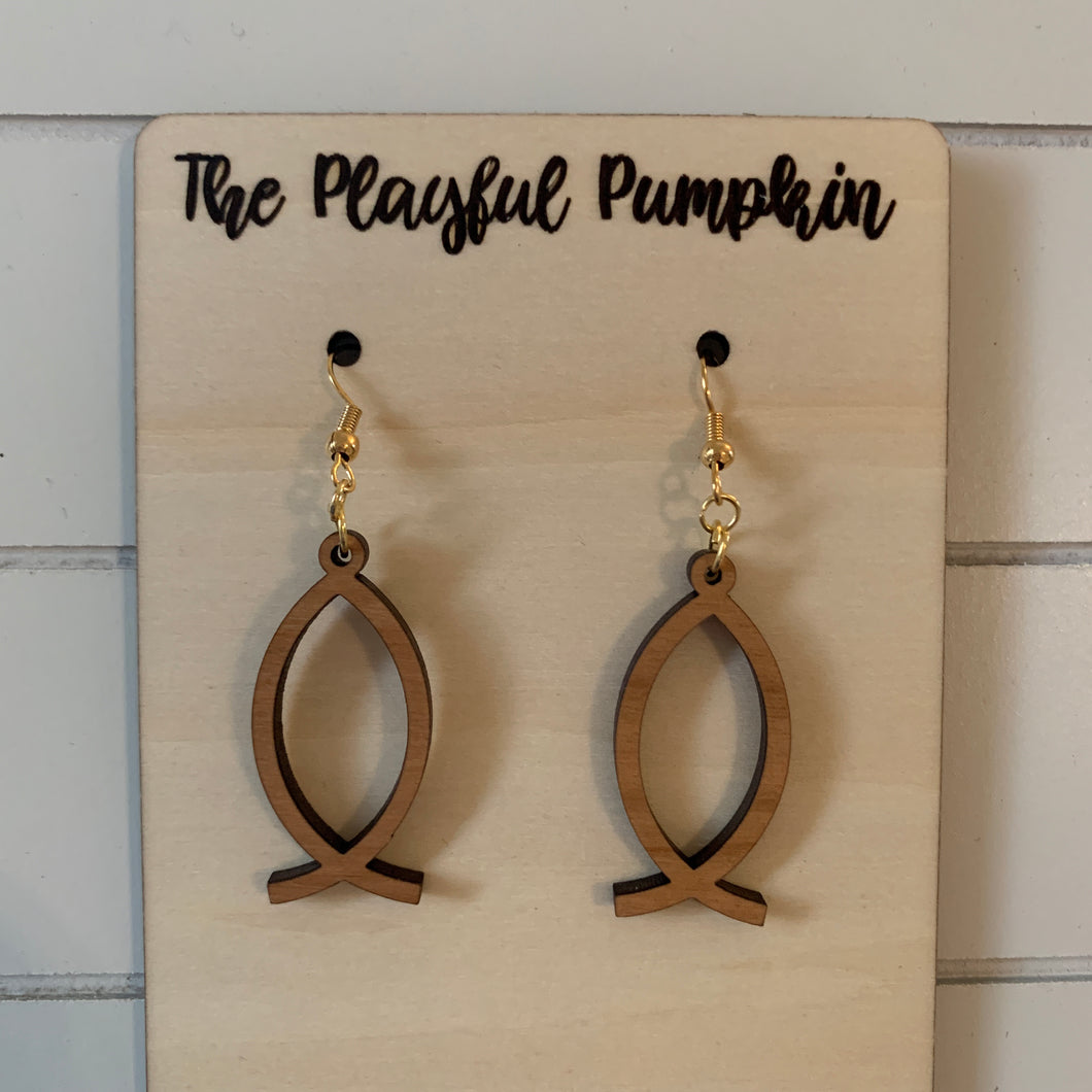 Ichthus Fish Wood Earrings