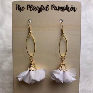 White Flower Fabric Drop Earrings