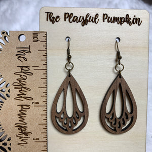 Looped Brown Teardrop Wood Earrings