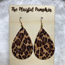 Cheetah and Gold Leather backed Cork Earrings