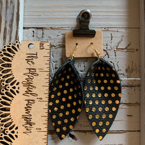 Black and Gold Polkadot Elongated Petal Leather Earrings