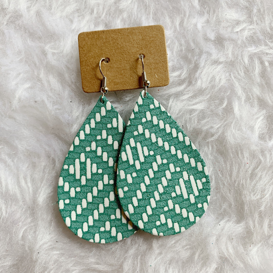 Turquoise Chevron Teardrop Leather Earrings