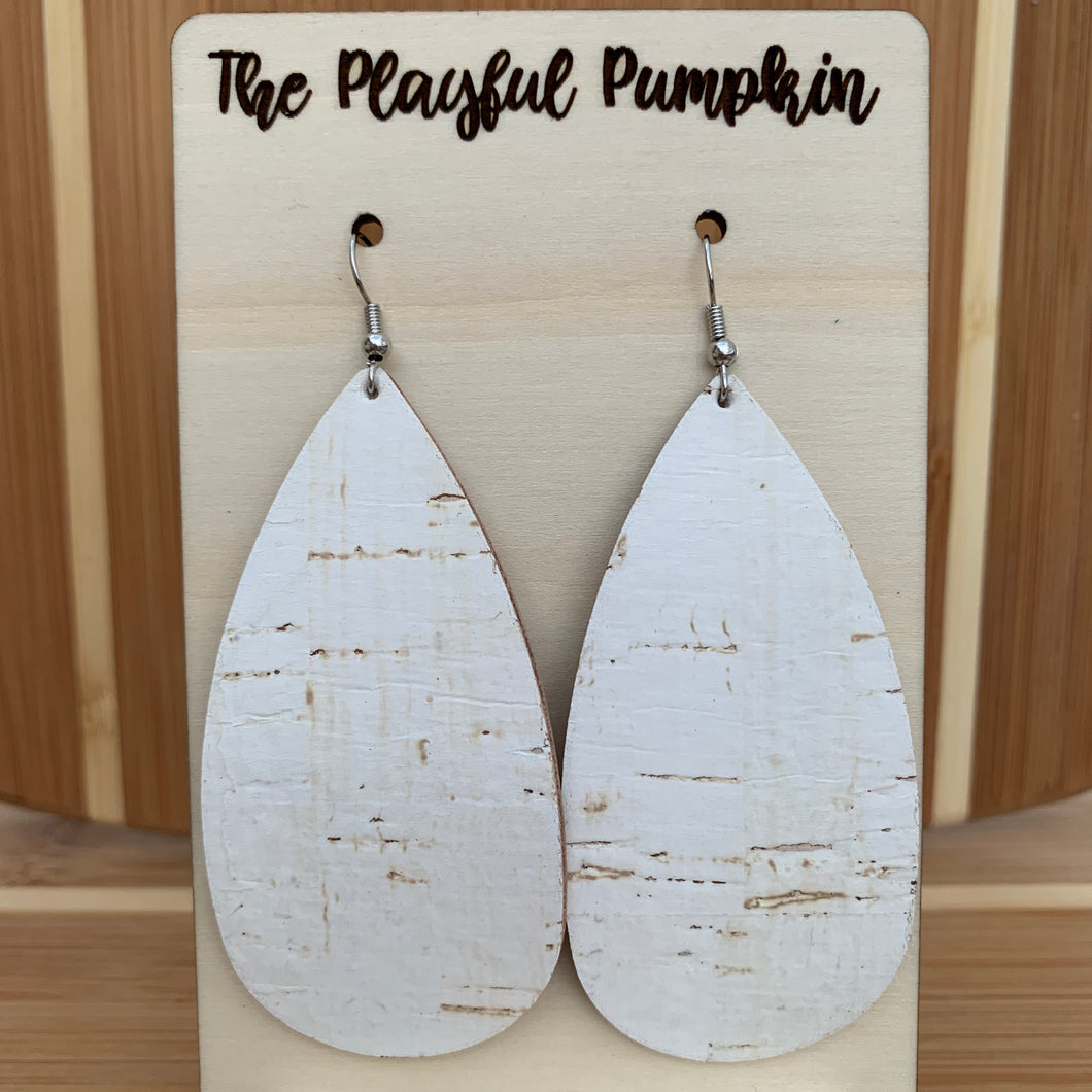 Elongated White Cork Leather Backed Teardrop Earrings
