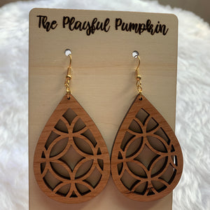 Laser Cut Wood Teardrop Earrings