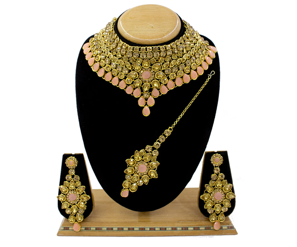 Traditional Peach LCT Gold Plated Kundan Choker Necklace Set
