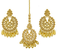 New design Kundan chandbali earrings and pearls maang tikka