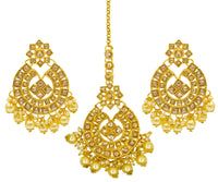 Kundan Party Wear Earrings And Maang Tikka