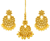 Kundan Earring and Maang Tikka Set