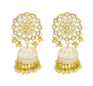 Traditional Bollywood Style Party Wear Kundan Earring For Girls & Women