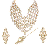 Fabulous Rose Gold Plated Multi Line Necklace Set For Women & Girls