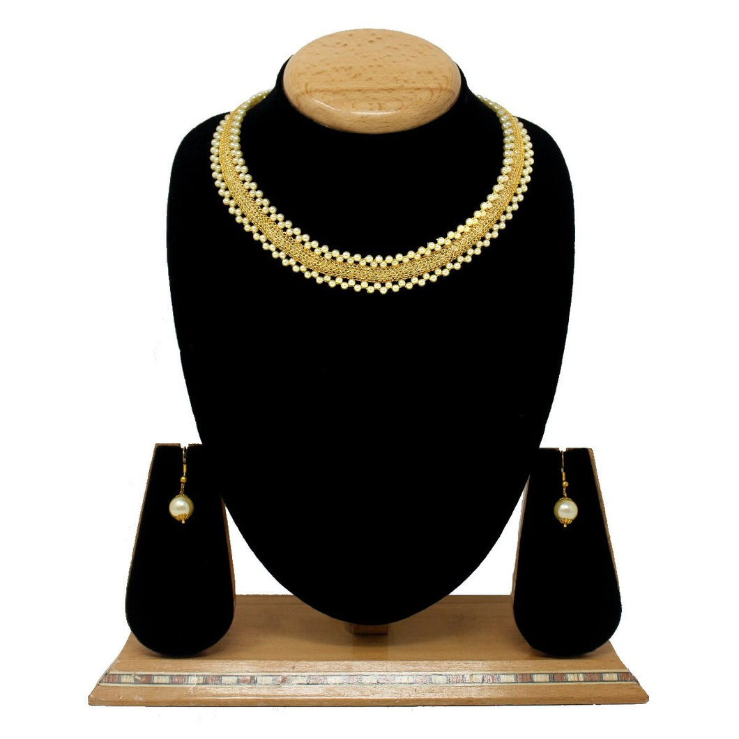 Gold Plated Fancy Pearls Necklace Set - Saiyoni.com