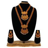 Gold Plated Antique Dual Half Necklace Set - Saiyoni.com