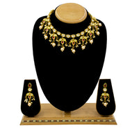 Women Gold Plated Kundan Necklace Set with Earrings for Girls/Women