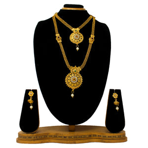 Gold Plated Antique Half Necklace Set For Women