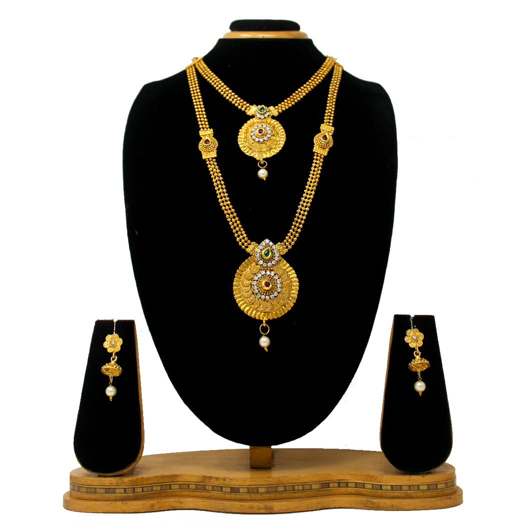 Gold Plated Antique Half Necklace Set For Women - Saiyoni.com