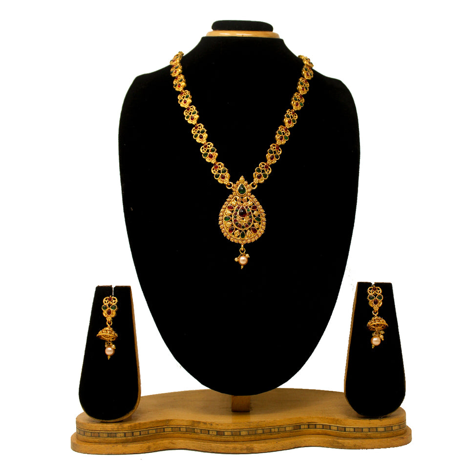 Gold Plated Antique Necklace Set For Women - Saiyoni.com