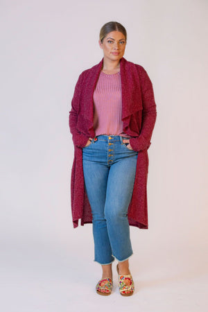 Belted Knit Trench-BURGUNDY